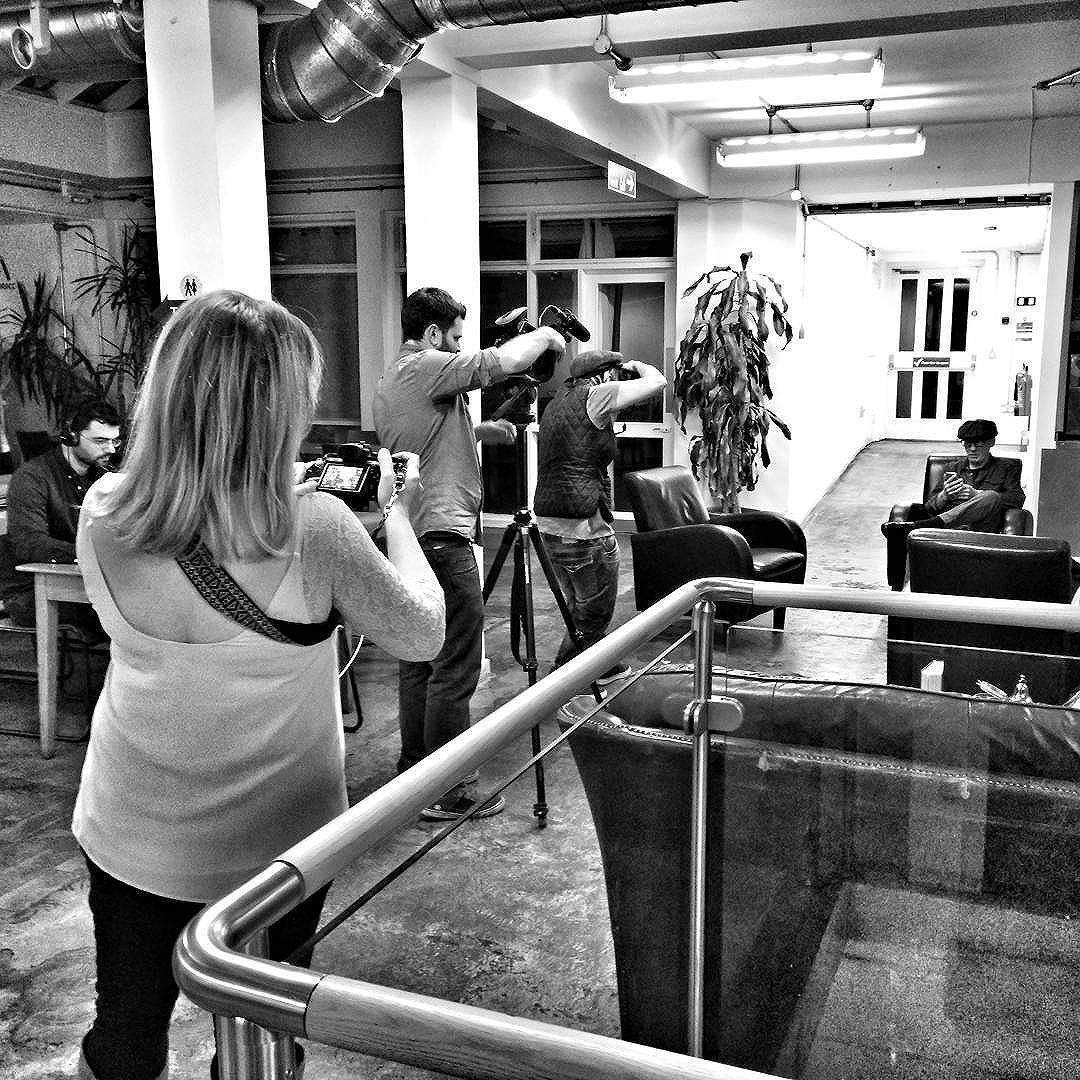 of @tessaereed photographing @migongofilms shooting the lovely Denise photographing a guy in a hat while on the shoot today for @LondonCM.  I think @shantzj is behind me shooting the next level up.  It was a great shoot and an amazing pleasure to hear such a powerful and personal story.  @huskcoffee